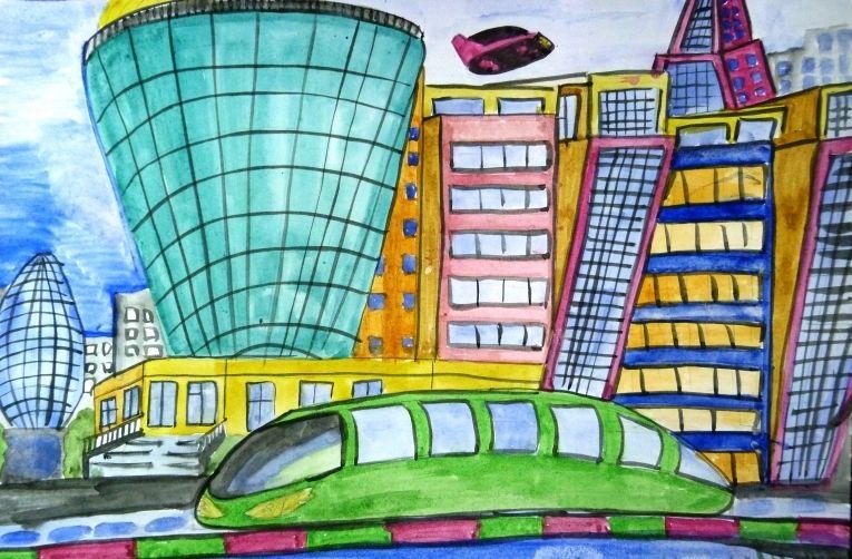 Рисунок города в будущем